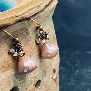 Matana Handmade Rose Moonstone dangle earrings
